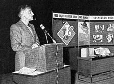 Voordracht door Jules De Vilder, voorzitter van de Blindenbond van Licht en Liefde en bibliothecaris (1976)