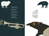 Twee pagina's uit het boek: schaap en tapir
