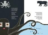 Twee pagina's uit het boek: inktvis en jaguar