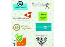 Logo's van instanties die 'Rare snuiters' steunen: Gelijke Kansen, Vlaamse overheid, West-Vlaanderen, Cera, vlaamsoogfonds, Luisterpuntbibliotheek, Elia Fonds, Drukarnia Narodowa