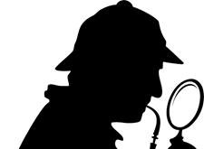 Silhouet van een detective met pijp en vergrootglas