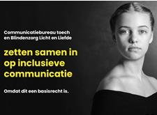 Communicatiebureau Toech en Blindenzorg Licht en Liefde zetten samen in op inclusieve communicatie omdat dit een basisrecht is (met foto van mooie jonge vrouw met strabisme)