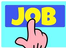Een vinger wijst naar of drukt op het woord 'JOB'
