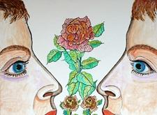 Twee personen ruiken aan bloemen
